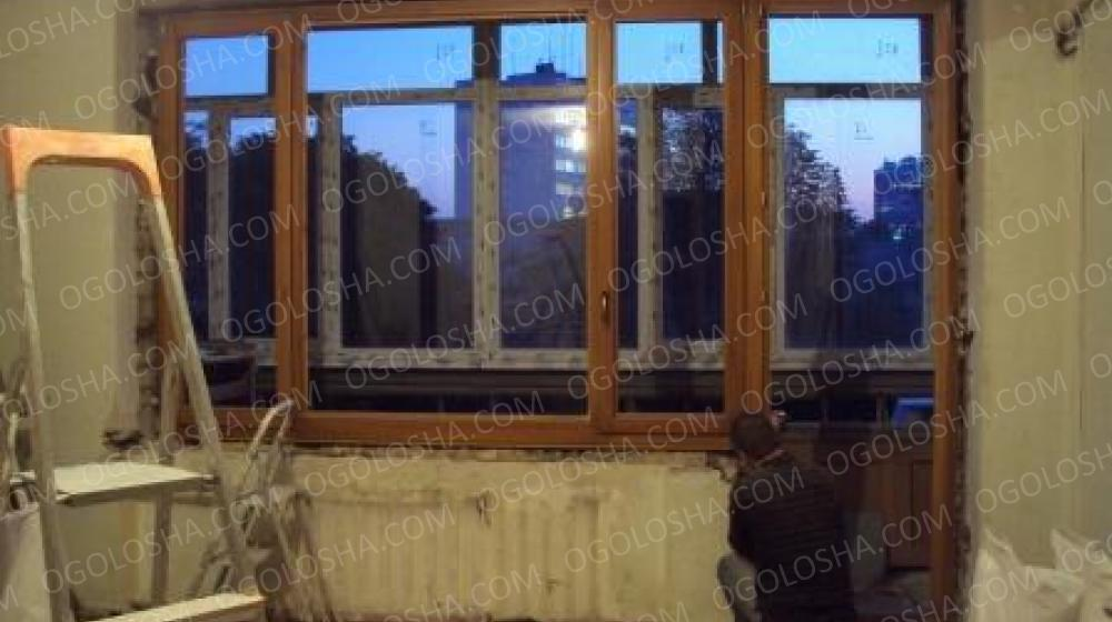 Установка деревянных окон и дверей. остекление ...: договорн.