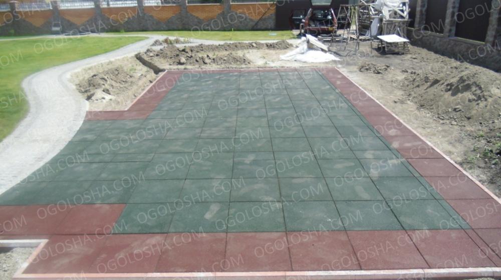 Резиновая плитка для детских площадок: толщина 1 - 5 см. Недорого.