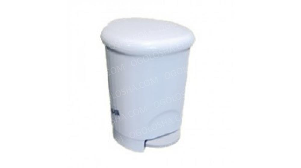 Корзина для мусора пластик белый 14л с педалью