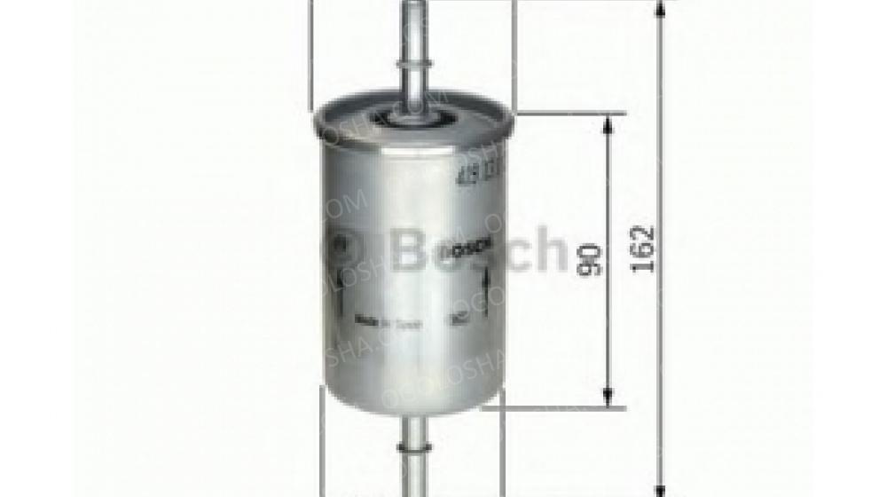 BOSCH (LV) F5273 H=162mm Фильтр топливный DAEWOO Lanos, Sens. Nubira; OPEL; SEAT; VW (на защелках)