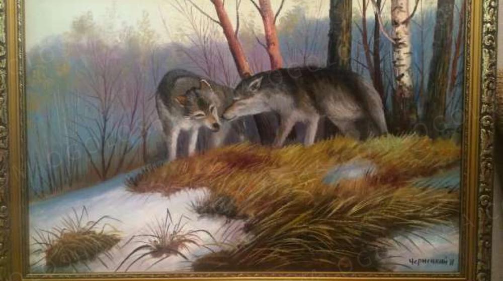 """Продам картину """"Волки"""" холст,масло"""