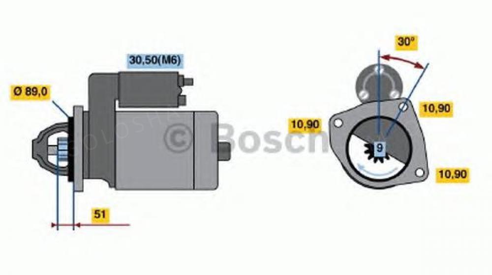 Стартер, 24В 4кВт к Mercedes-Benz 814 (прямой , мотор 366/364)