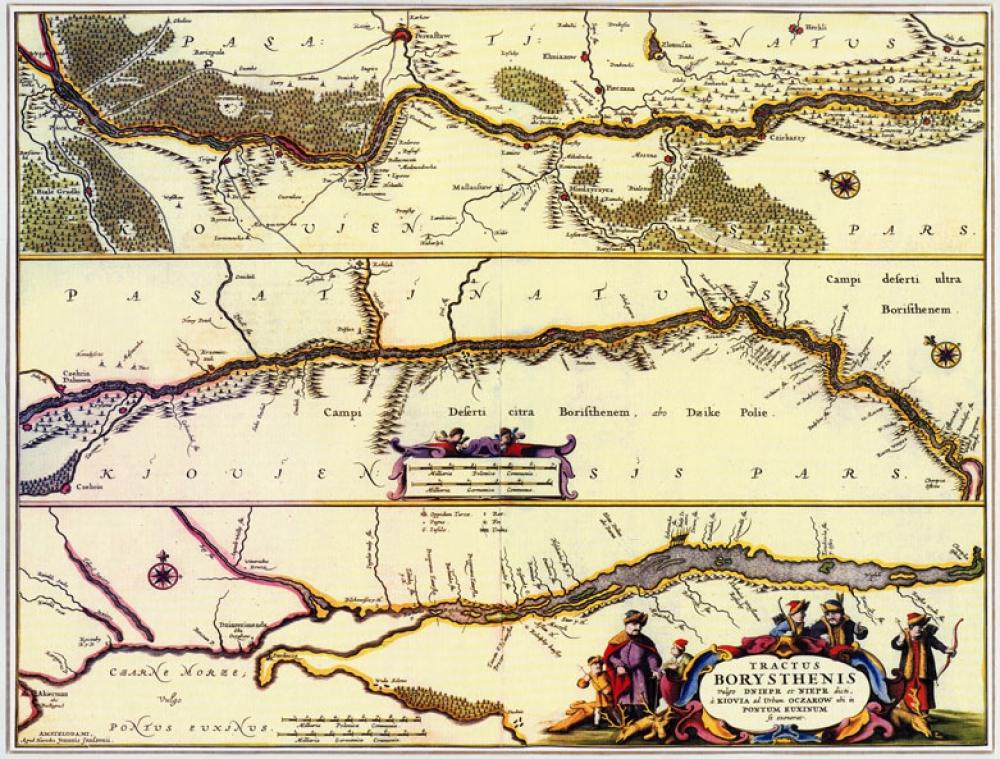 Оригинальный подарок - Карты течения Днепра Гиема де Боплана 1660г, Киев