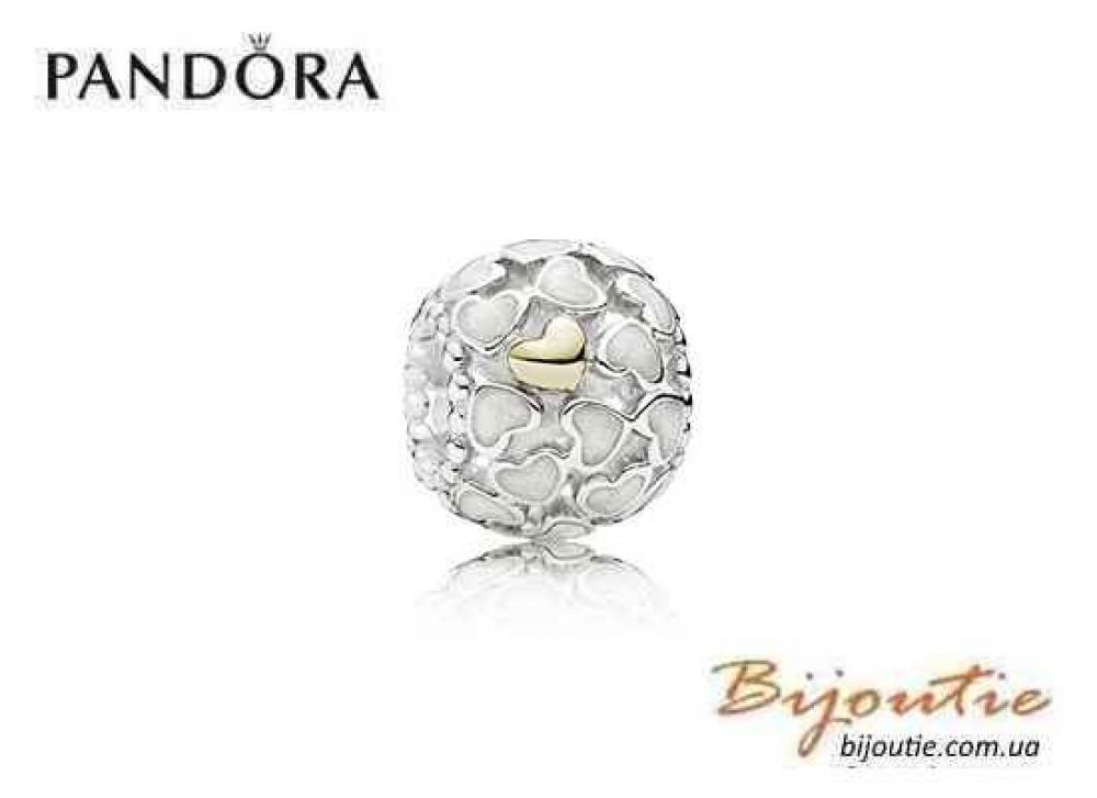 Pandora шарм БОГАТСВО ЛЮБВИ 791283EN23 серебро 925 золото 14к эмаль Пандора оригинал