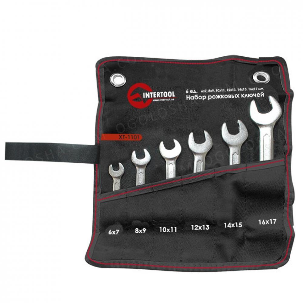 Набор рожковых ключей 6шт 6-17мм Cr-V, покрытие сати INTERTOOL XT-1101