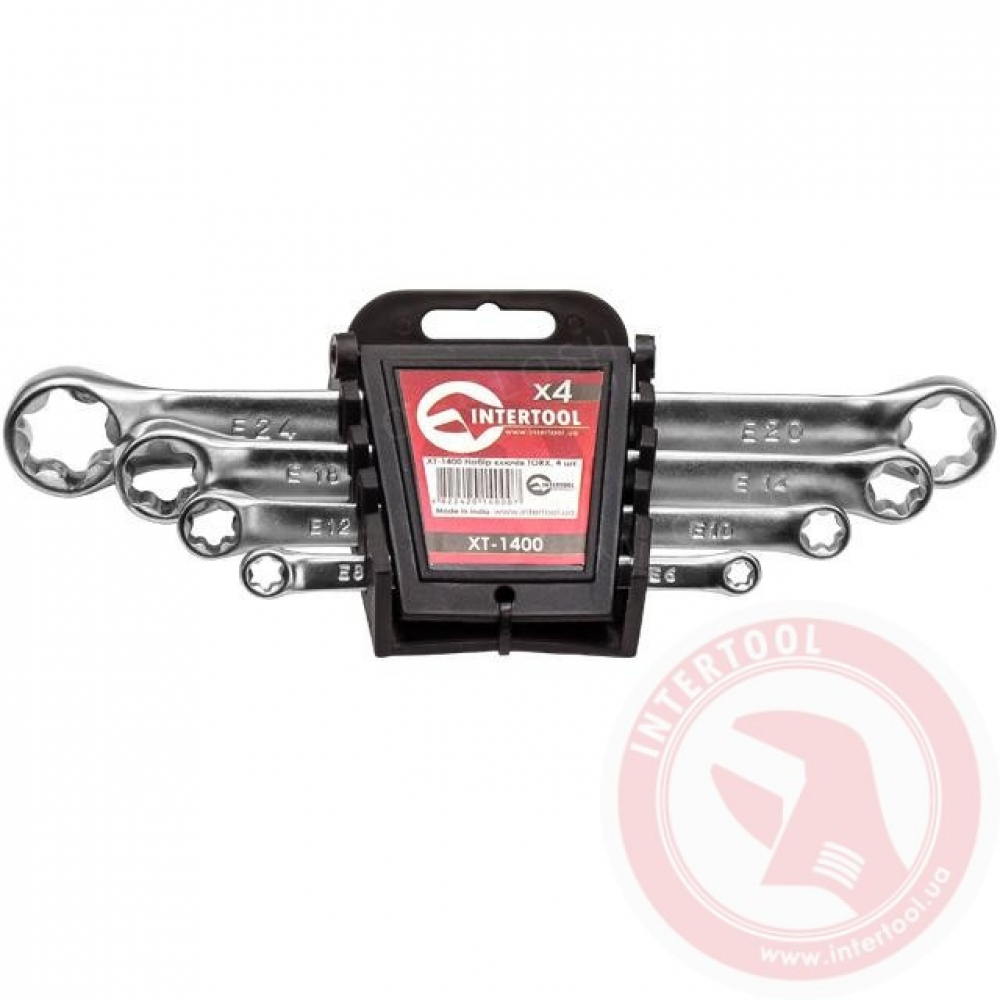 Набор накидных ключей TORX 4шт E6-E24мм INTERTOOL XT-1400
