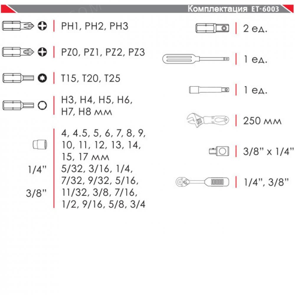 Набор инструмента 43ед, 3/8*1/4, Cr-V INTERTOOL ET-6003