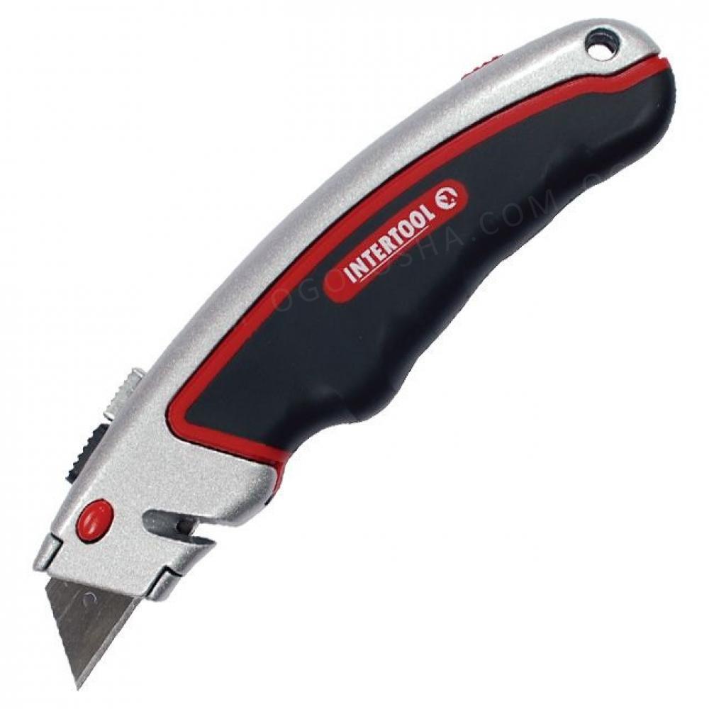 Нож с выдвижным трапециевидным лезвием, металлически INTERTOOL HT-0516