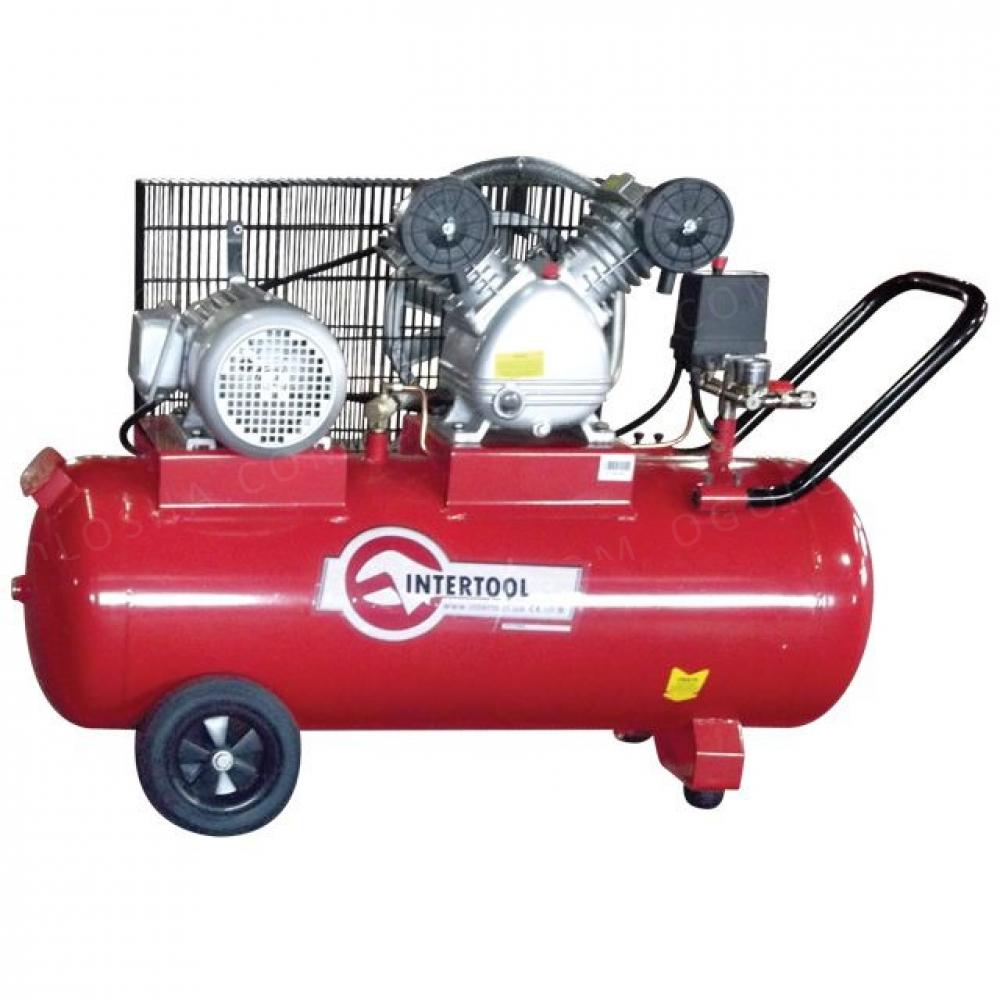 Компрессор 100л, 4HP, 3кВт, 380В, 8атм, 500л/мин, 2  INTERTOOL PT-0013