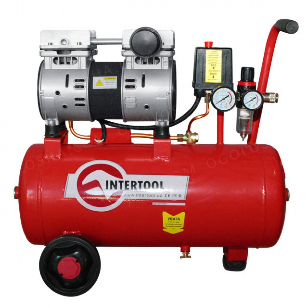 Компрессор 24л, 1.5HP, 1.1кВт, 220В, 8атм, 145л/мин, INTERTOOL PT-0022