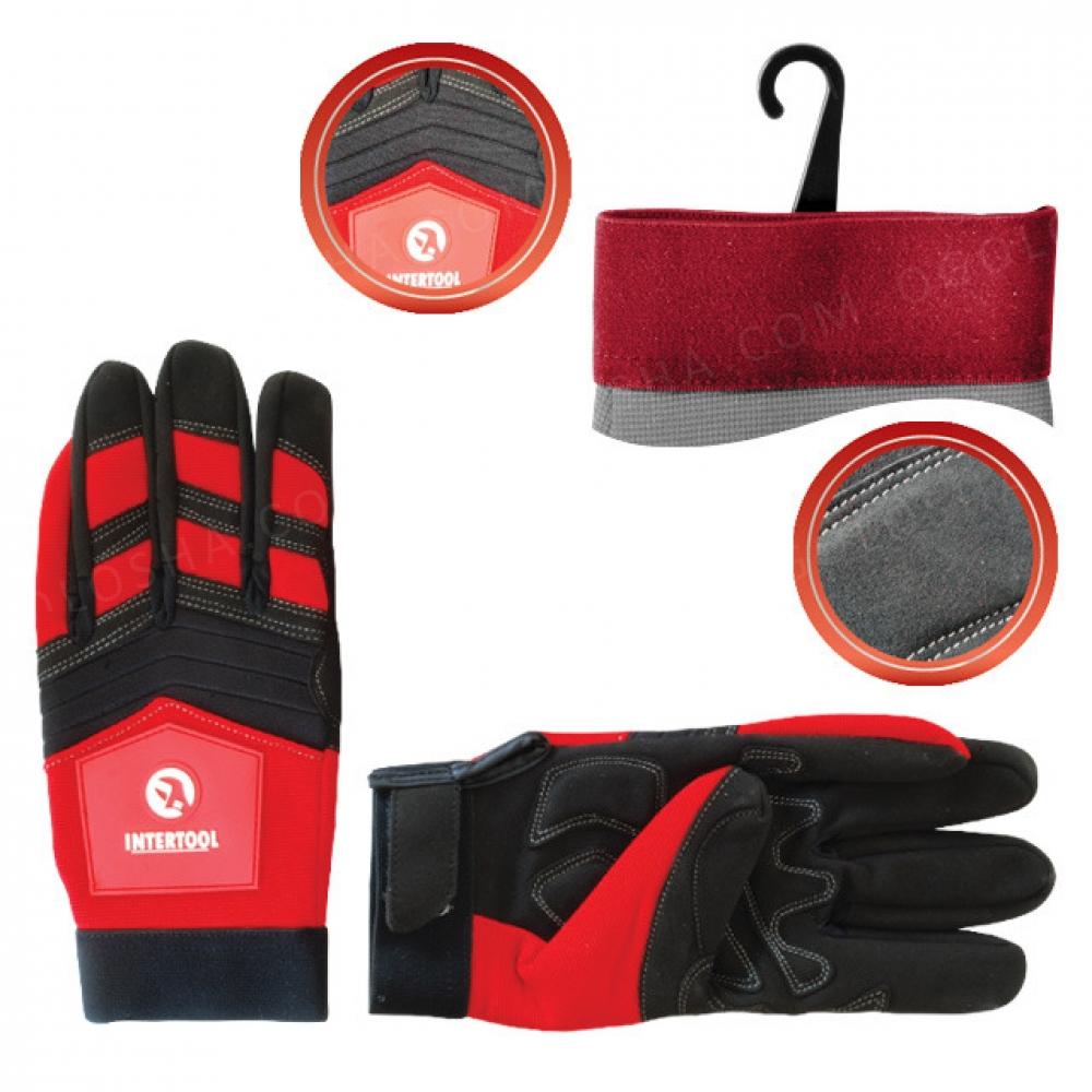 Перчатка Microfiber тканевая красная с черными встав INTERTOOL SP-0143