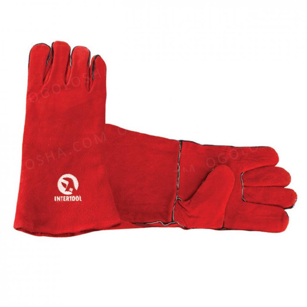 Перчатка замшевая 14 (красная) INTERTOOL SP-0156