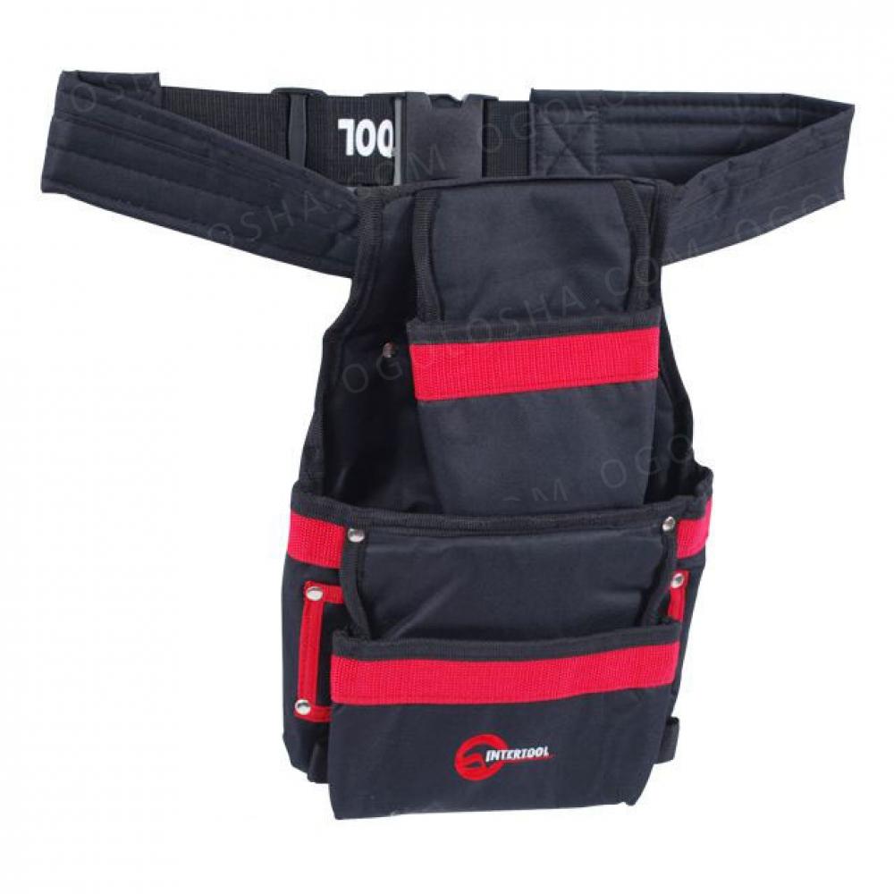 Сумка поясная слесарно-строительная, 3 кармана, поли INTERTOOL SP-1014