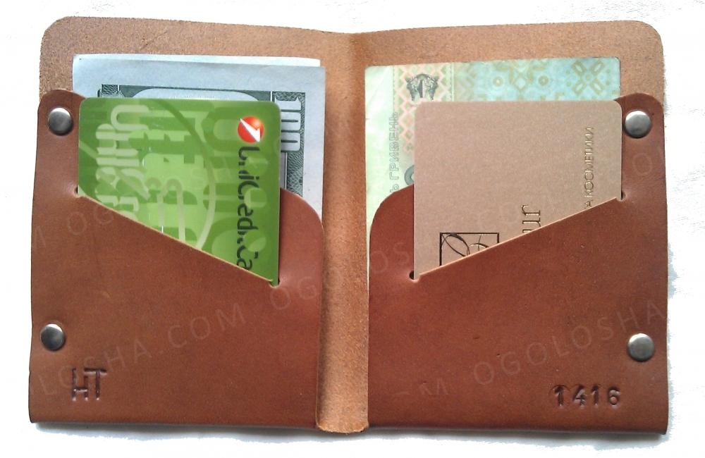 Мужской кошелек портмоне из натуральной кожи коричневый тонкий ручная работа. KAG Leather