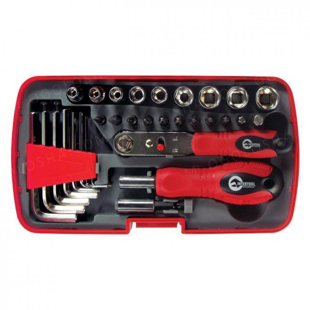 Отвертка с набором инструмента 35ед, пластиковый фут INTERTOOL VT-1035