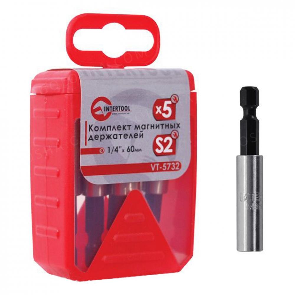 Комплект магнитных держателей 1/4*60мм, 5шт INTERTOOL VT-5732