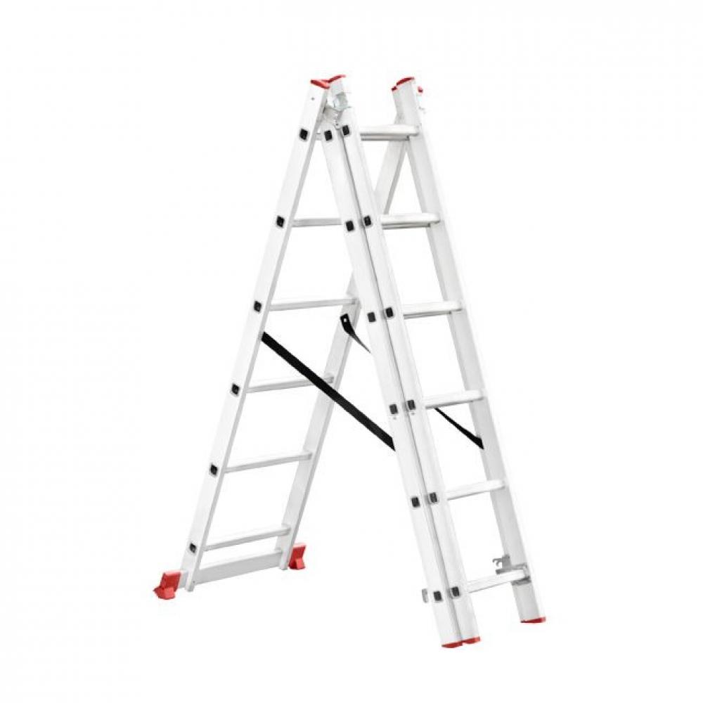 Лестница алюминиевая 3секц раскладная 3*6ст 3.41м INTERTOOL LT-0306