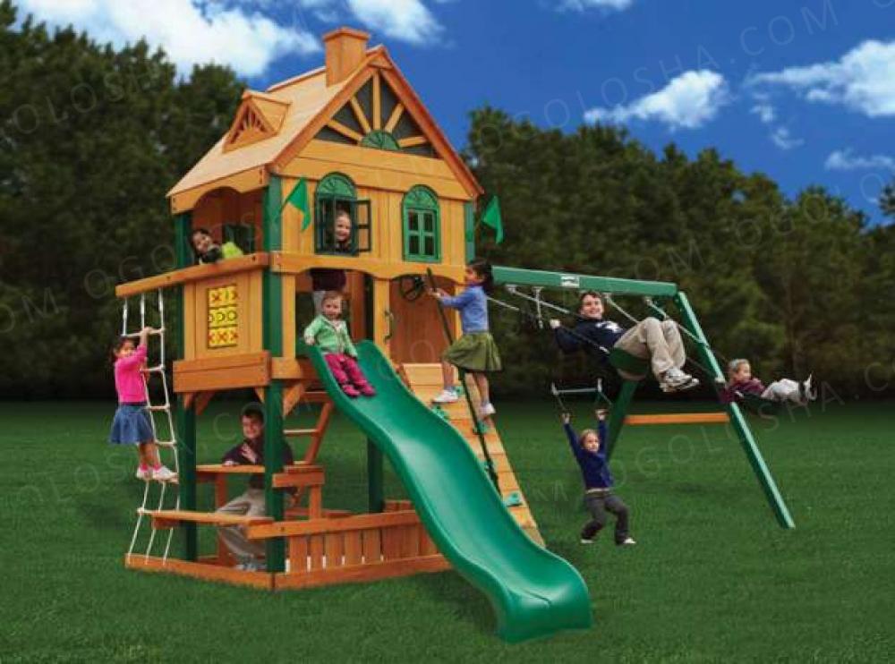 Детский Игровой комплекс изготовлен из канадского красного кедра