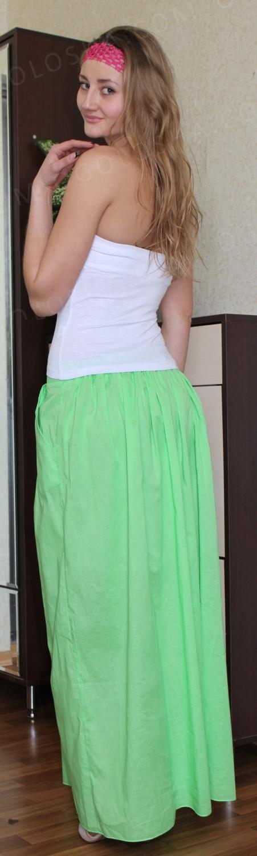 Красивая длинная мятная юбка