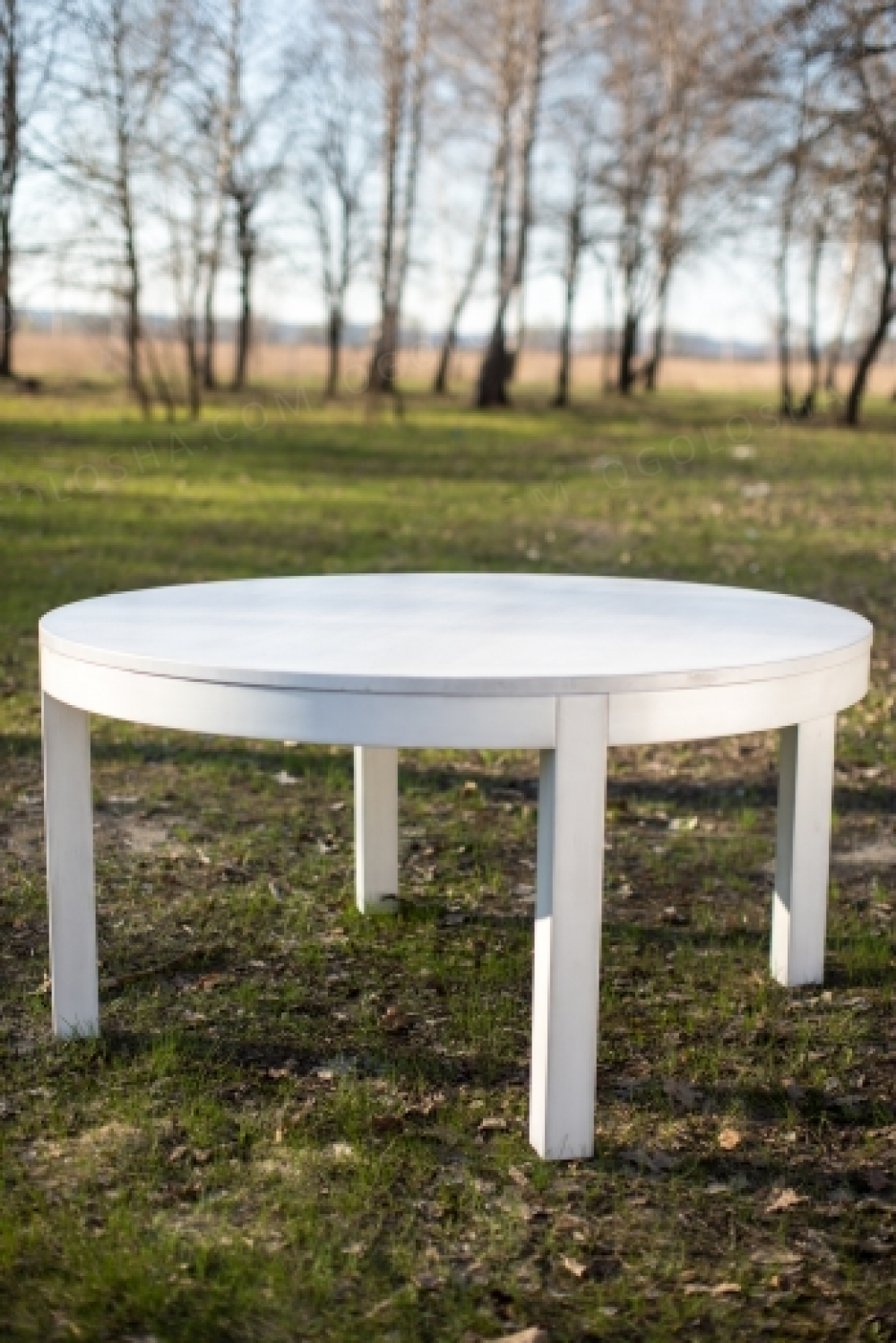 Белый стол из натурального дуба