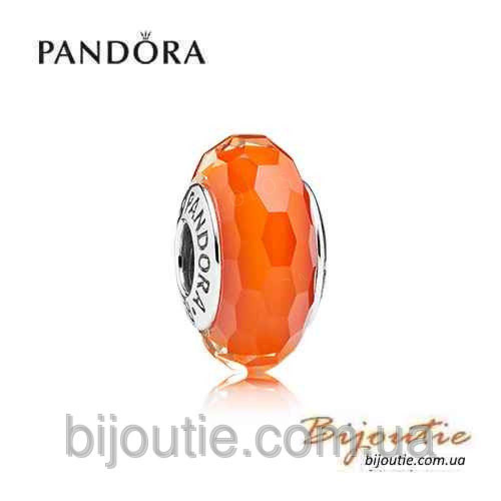 Pandora шарм ОРАНЖЕВОЕ ОГРАНЕННОЕ МУРАНО 791626 серебро 925 Пандора оригинал