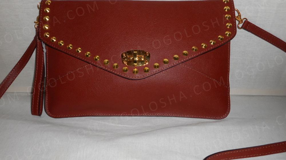 женский кожаный(натуральная кожа) рыжий сумка клач Возможен торг