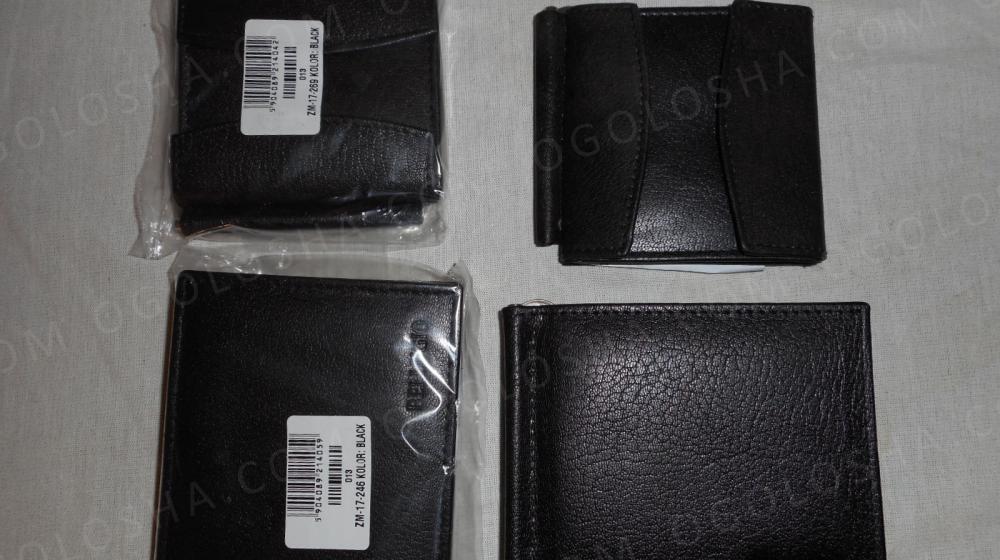 кожаный (натуральная кожа) чорный зажим для денег Возможен торг