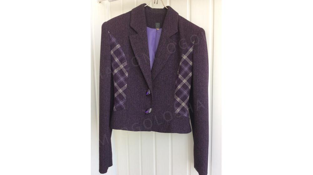 Костюм фиолетовый: приталенный жакет с длинной юбкой Olga-стиль