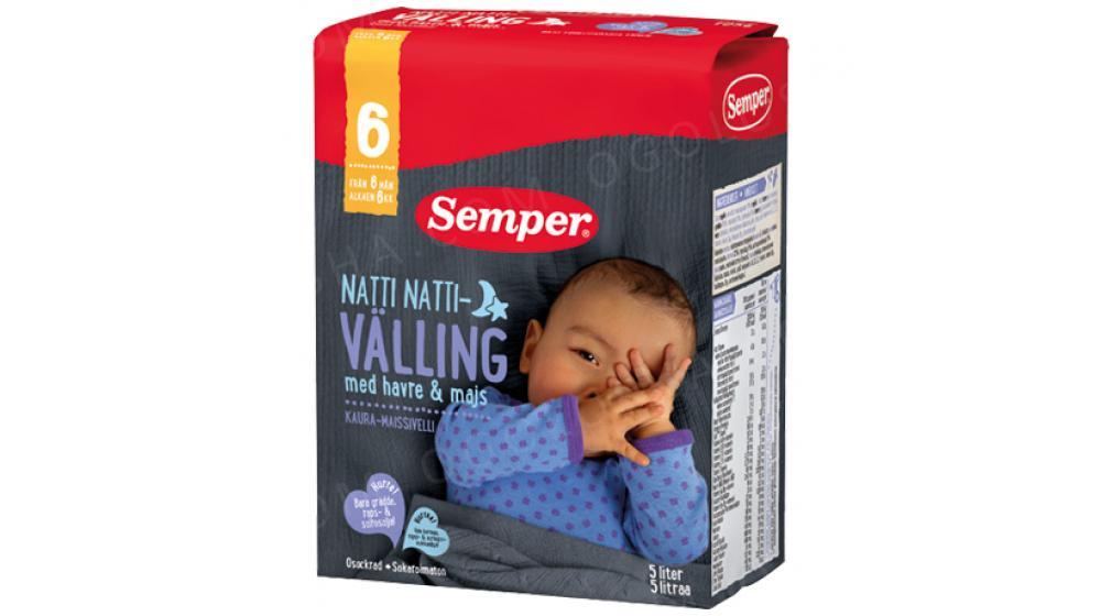 Вэллинг ночной Семпер (Semper) овсянка с кукурузой, с 6-ти месяцев 725 грамм, под закз со Швеции