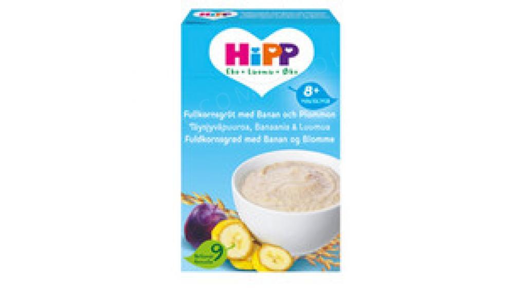 Органическая каша для детей Hipp 270гр со Швеции, слива и банан, с 8-ми месяцев