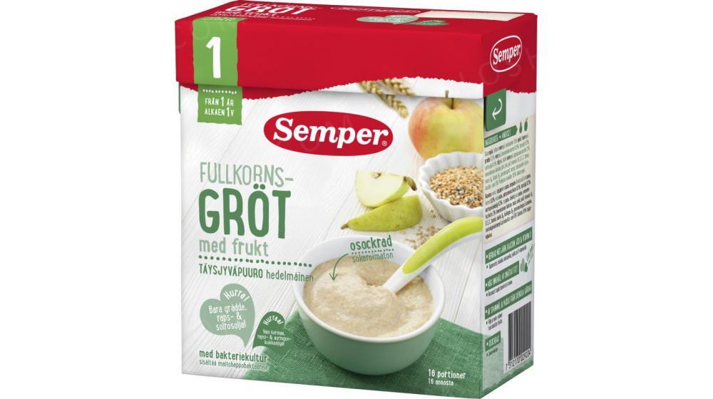 Фруктовая каша, лактобактерии казеи Semper, под заказ со Швеции из муки грубого помола 530 грамм