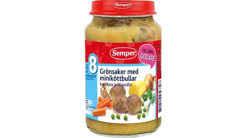 Semper (Семпер) овощи с фрикадельками 8 месяцев 190г привозим под заказ со Швеции