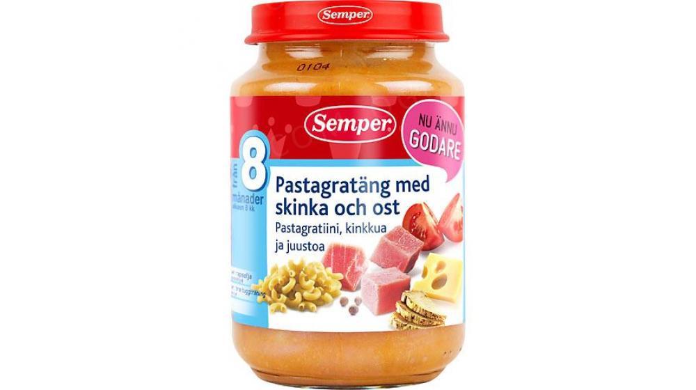 Пюре Semper (Семпер) привозим под заказ со Швеции макароны с ветчиной 8 месяцев 190г