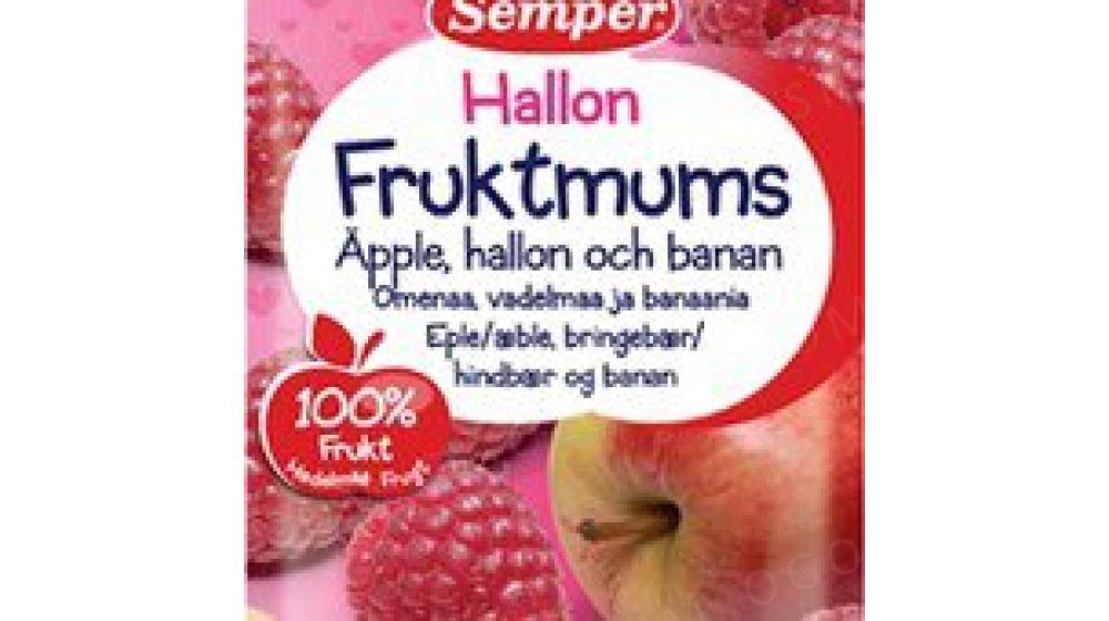 Фруктовое пюре, яблоко, малина, банан Семпер (Semper) 110 гр с 6 мес, доставка под заказ со Швеции
