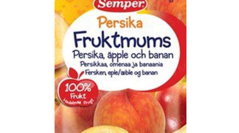 Фруктовое пюре персик, яблоко, банан Семпер (Semper)110 гр с 6 мес, привозим под заказ со Швеции