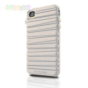 Чехол силиконовый  Ребристый чехол MUSUBO Белый для IPhone 4/4s