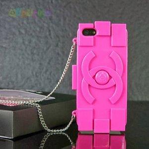 Силиконовый чехол Chanel Lego Hot Pink Ярко Розовый для IPhone 5/5s