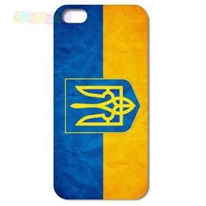 Чехол Пластик Флаг Украины Лаковый для IPhone 5/5s