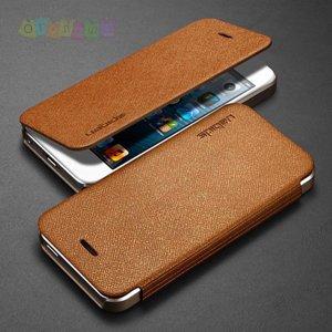 Чехол книжка кожаная Spigen Ultra Flip коричневый для IPhone 5/5s