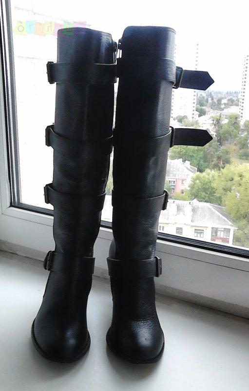 Office, фирменные сапоги на каблуках, кожа, р.36
