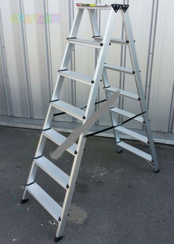 Двухсторонняя стремянка алюминиевая ПРАКТИКА 2x7 ступеней