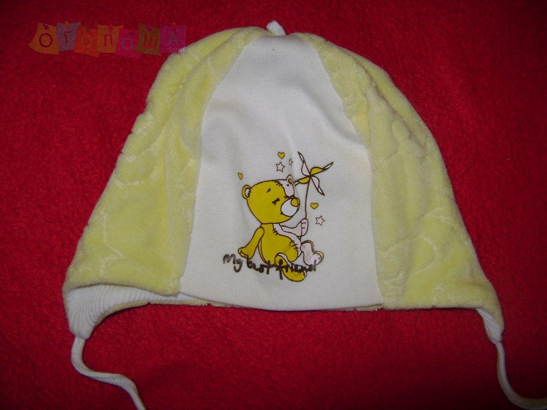 Шапочка велюровая для младенца