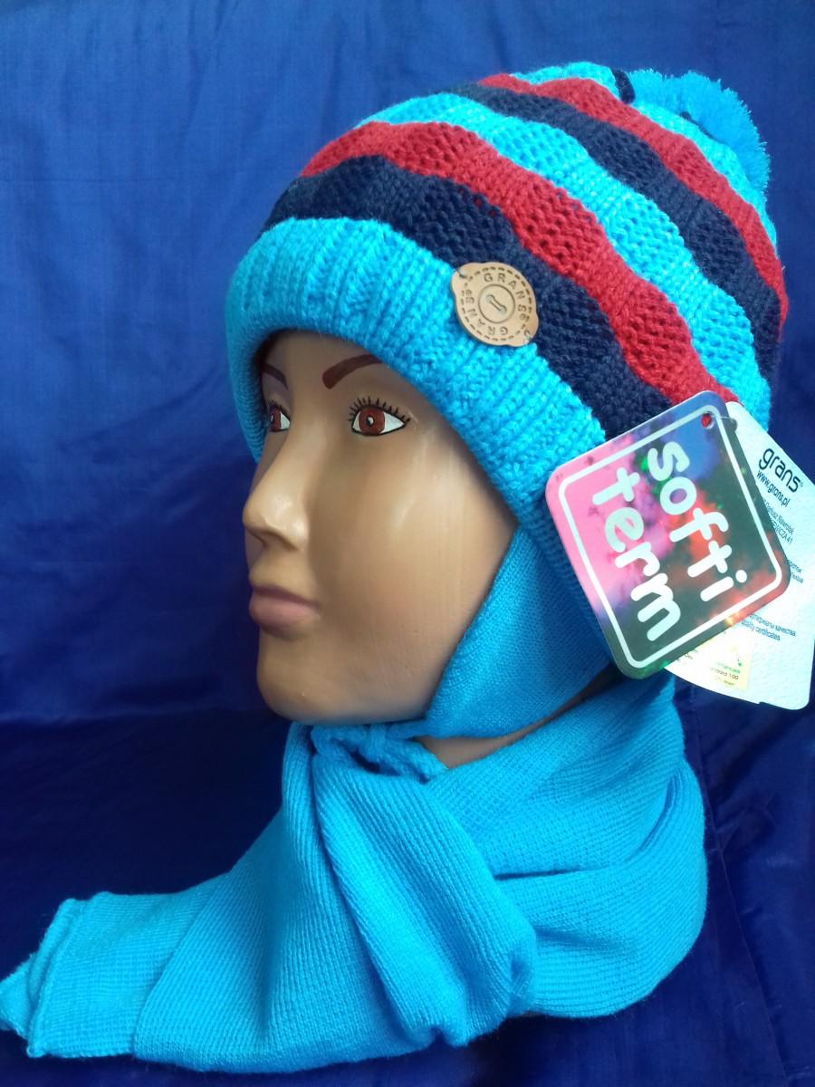 Детский комплект для мальчика на хлопковой подкладке(шапка и шарф), Grans (Польша)