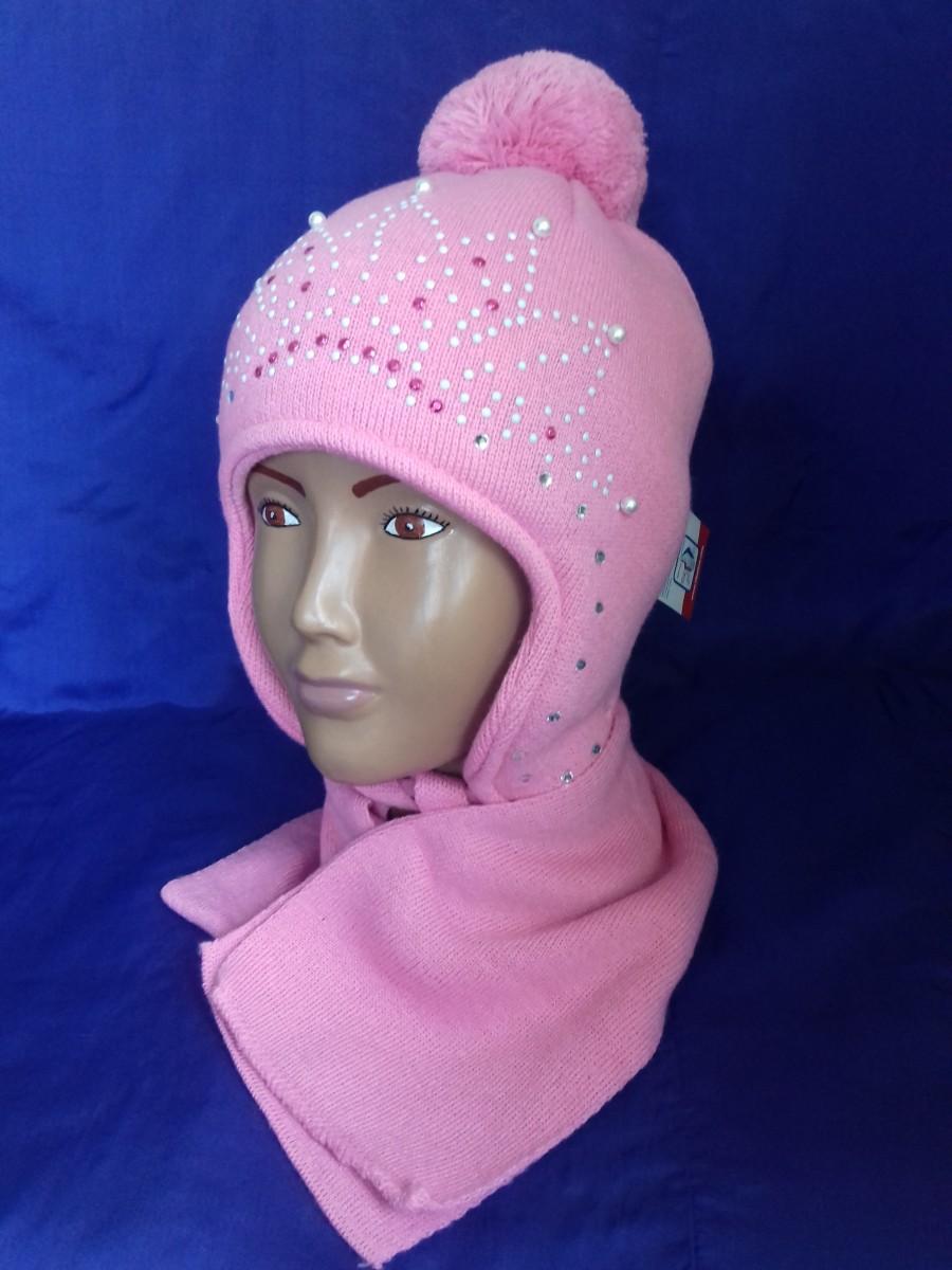 Детский комплект шапка и шарф для девочки, Amal (Польша)