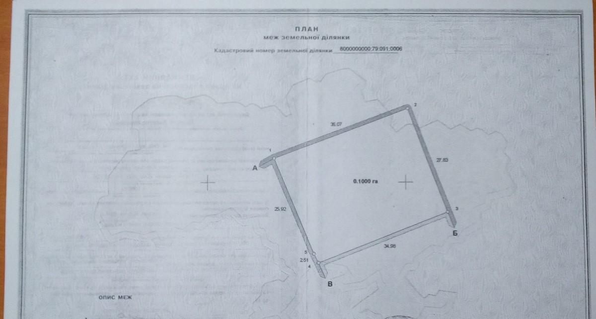 Продам земельну ділянку площею 0,10 га для будівництва