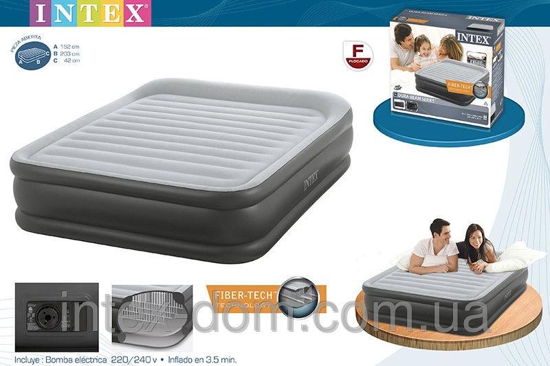 Кровать со встроенным насосом Queen Deluxe Pillow Rest, 152x203x42 см, Intex 64436