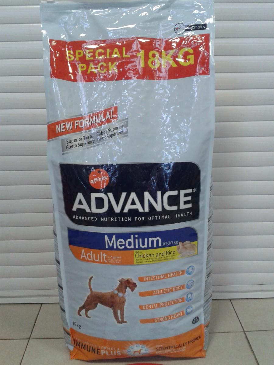 Advance Medium Adult корм для собак средних пород 18кг