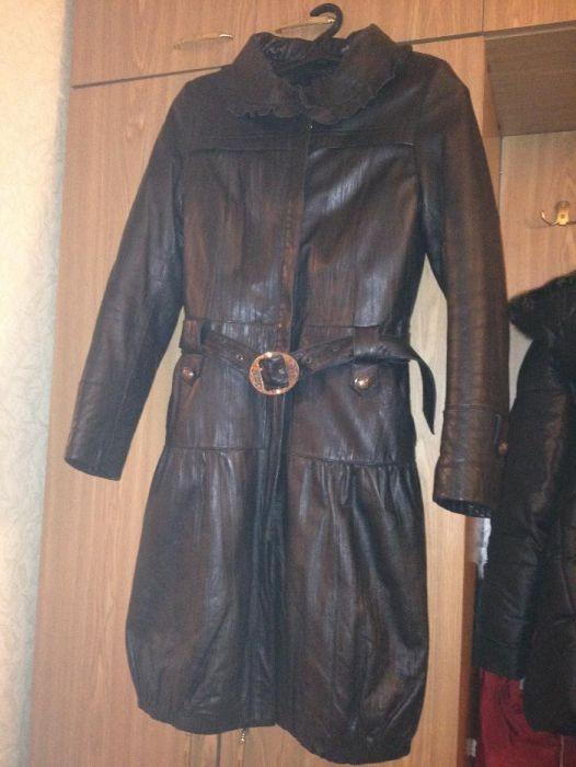 Пальто кожаное с меховой подстежкой (кролик)