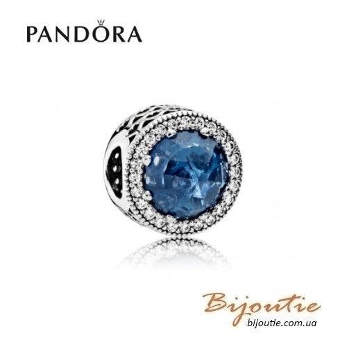 Шарм PANDORA синие сияющие серца ― 791725NMB