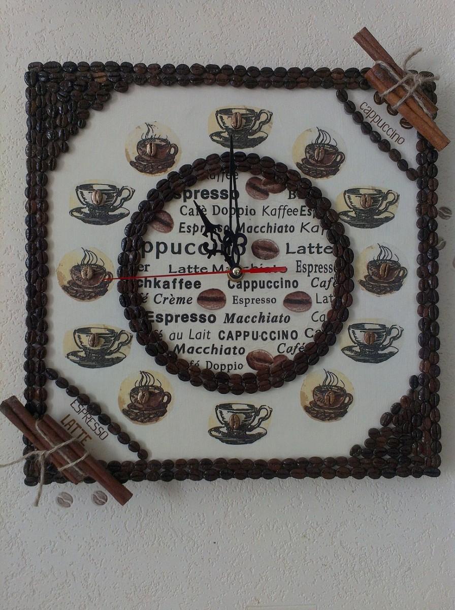 Часы из зёрен  кофе. ручная работа